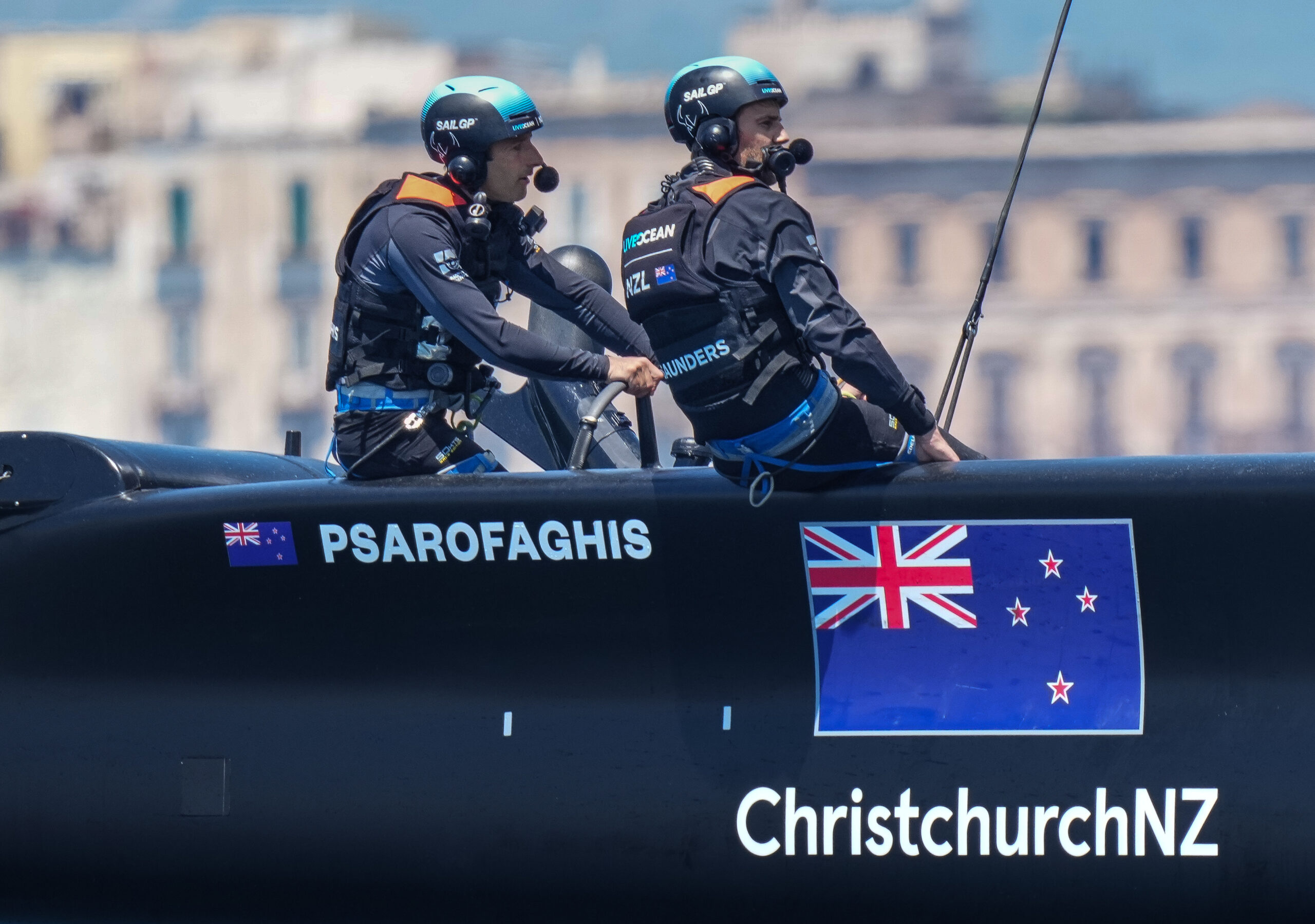 New Zealand SailGP Team helmed by Arnaud Psarofaghis in action during practice session ahead of Italy SailGP, Event 2, Season 2 in Taranto, Italy. 04 June 2021. Photo: Bob Martin for SailGP. Handout image supplied by SailGP