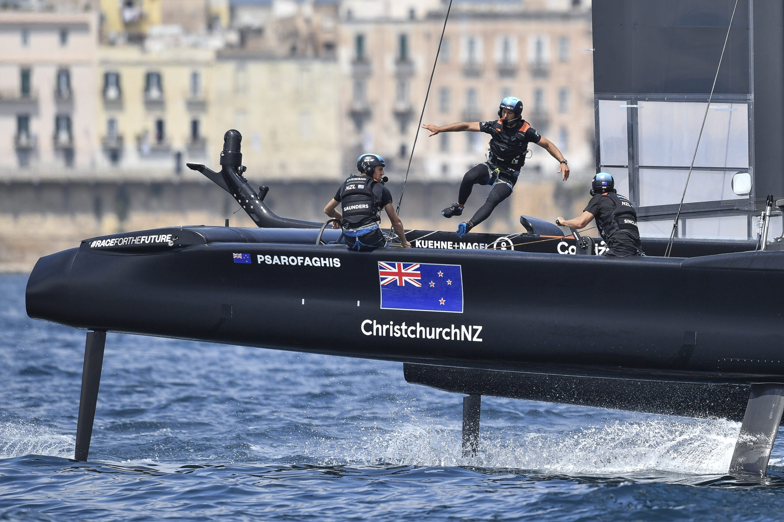New Zealand SailGP Team helmed by interim skipper Arnaud Psarofaghis in action during racing on race day 2. Italy SailGP, Event 2, Season 2 in Taranto, Italy. 06 June 2021. Photo: Ricardo Pinto for SailGP. Handout image supplied by SailGP