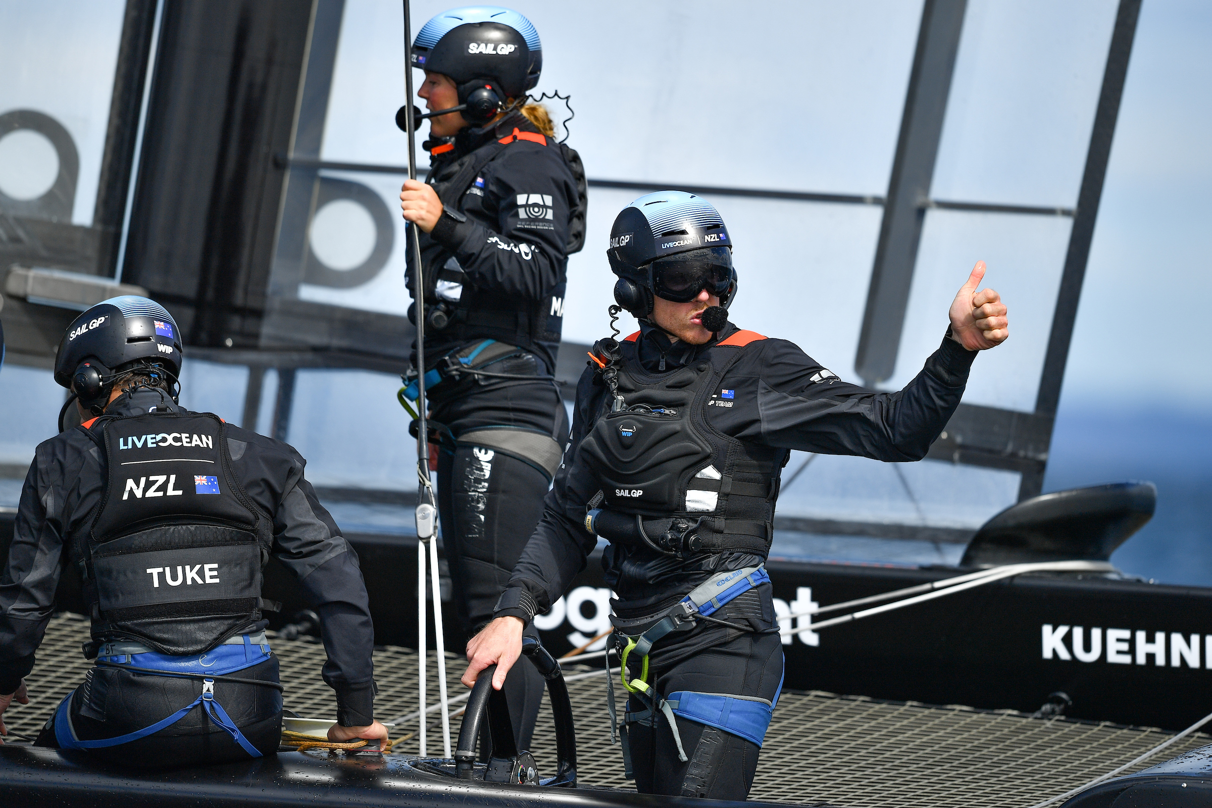 New Zealand SailGP Team in action during a practice session ahead of Denmark SailGP, Event 4, Season 2 in Aarhus, Denmark 17 August 2021. Photo: Ricardo Pinto for SailGP. Handout image supplied by SailGP