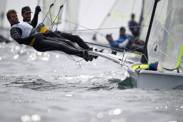 WEYMOUTH, ENGLAND - MAY 16: Yannick Lefebvre and Tom Pelsmaekers of Belgium in action during a 49er class race on May 16, 2019 in Weymouth, England. (Photo by Clive Mason/Getty Images)