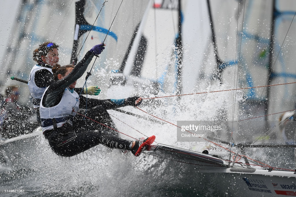 WEYMOUTH, ENGLAND - MAY 16: Lili Sebesi and Albane Dubois of France in action at the finish of a 49erFX class race on May 16, 2019 in Weymouth, England. (Photo by Clive Mason/Getty Images)